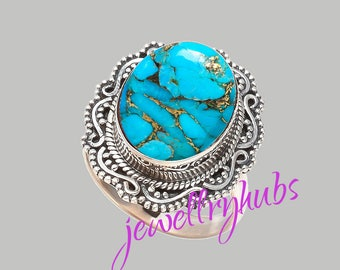 Blue Turquoise Ring, Copper Turquoise Ring, Handmade Ring, Turquoise Stone Ring,925 Sterling Silver, Silver Ring, R21TRB