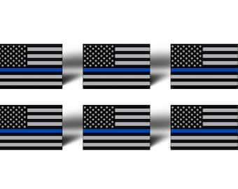 Mini Blue Line USA Flag Stickers - Support Police US Flag 2nd Amendment Gun Law Enforcement Lives Matter Sheriff USA America