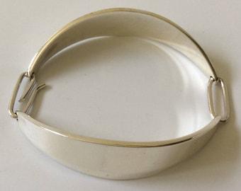Bent Knudsen Denmark MidCentury Modernist Sterling Silver Curved Panel Link Bracelet #64