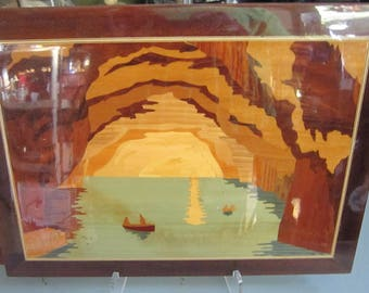 Vintage Framed Wall Art, Marquetry, Inlaid Wood Art