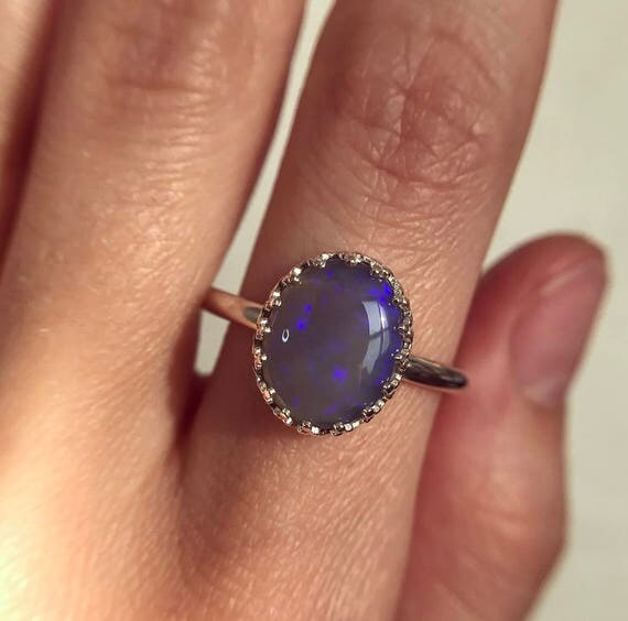 Sterling silver ring with Australian crystal opal SZ 10