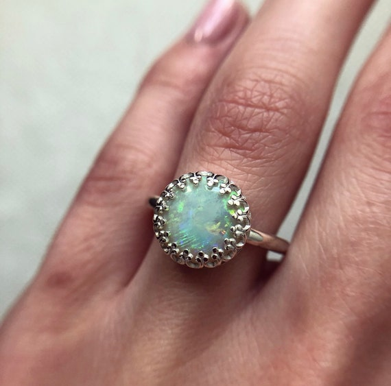 Sterling silver ring with Australian opal SZ 7.5