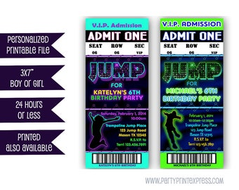 Printable Jump Birthday Invitation - Trampoline Park Party Bouncey House Invitations - Girl Trampoline - Boy Trampoline - VIP Pass Sky