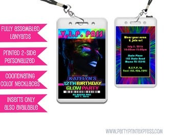 Glow Party Invitations - Glow Party VIP Pass - Girl Glow In The Dark Party Invite - Neon Glow - Rave - Girls Glow Invitation - Lanyard