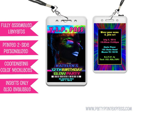 Glow Party Invitations Glow Party VIP Pass Girl Glow In The Dark