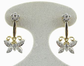 14k Yellow And White Gold Butterfly Man Made Diamond Earrings 4.2 grams