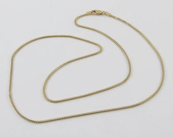 14k Yellow Gold Square Franco Chain Necklace 18 Inches 3 grams
