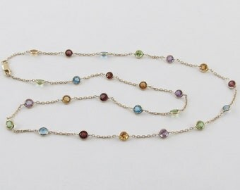 Solid 14k Yellow Gold Necklace By The Yard  18 Inches Gemstone Station Necklace