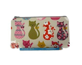 Cats zipper pouch, colorful Make up bag, cats pencil case, Kids pouch, Back to school, gift for girl, multicolor cosmetic, funny cats pouch