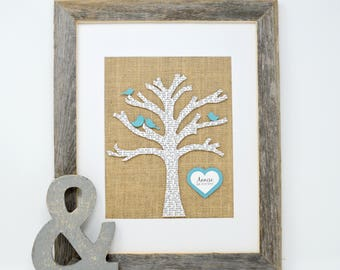 Family Tree- Gift for Her, Gift for mom, Anniversary Gift for Parents, 3D Wall Art, Burlap Decor, Tree with Birds, Anniversary Gift, Birds