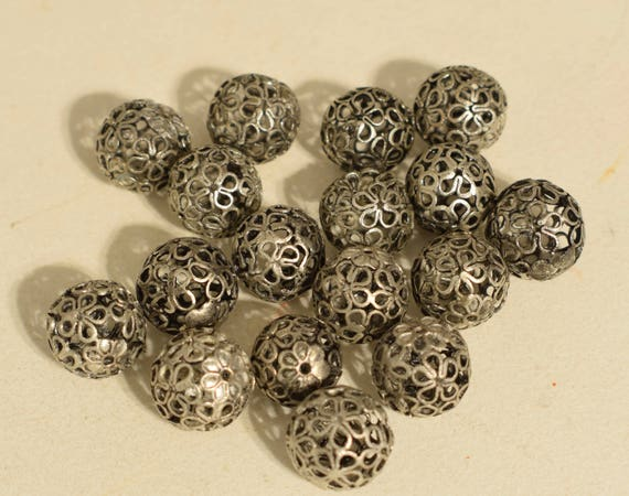 Beads Silver Open Flower Chinese Jewelry Necklaces  Silver Beads 12mm