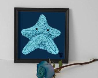 Blade Estrella de Mar, in blue, exclusive of the collection Retrats Bestials of Marta Comas Illustration.