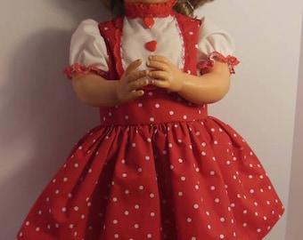 "Red Polka-dot Jumper Type Dress Set for 28"" Horsman Thirstee Walker Thirsty"