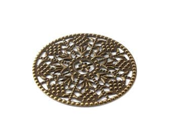 Round filigree engraving bronze color 48 mm / ES001