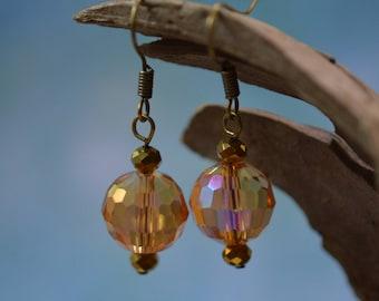 Faceted Crystal Earrings - peach