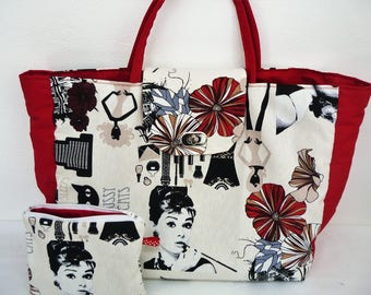 Tote bag women retro red and white