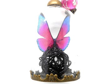 Long necklace glass globe Butterfly pink and blue, black ball bead spun by charms and co.