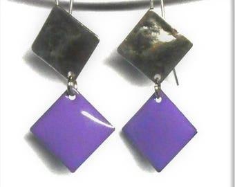 Purple enamel silver diamond earrings