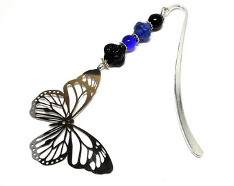 Brand pages silver jewelry, blue beads and filigree Butterfly charm