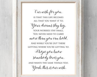 Dainty rascal etsy our wish for you print rascal flatts lyrics this life becomes all that stopboris Images