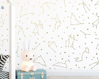Zodiac Constellation Wall Decals - Star Decals, Zodiac Gift, Wall Decor, Gift for Her, Constellations, Wall Decals, Nursery Decor