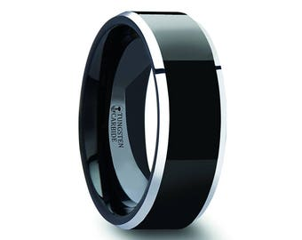 Men's Polished Black Tungsten Carbide Ring with Metallic Beveled Edges