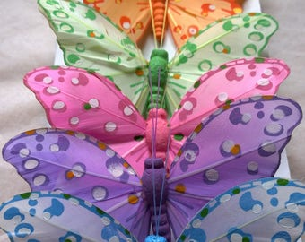 Feather Butterflies - Set of 6 - Spotted Design - 10cm Wingspan