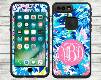 Monogrammed Lilly Pulitzer Inspired LifeProof Fre Skin Decal - iPhone 7, iPhone 7 Plus, iPhone 6 Plus, iPhone 6/6s - Over 50 designs