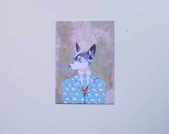 Chihuahua in Thom Browne Greeting Card. Pets, Birthday, Thank you, Housewarming, Holiday