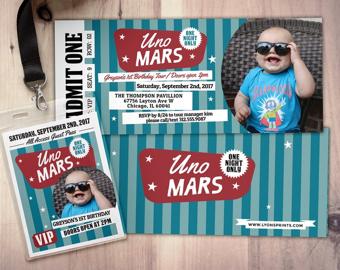 ROCK STAR, concert ticket, birthday party invitation, Music invitation, printable, rockstar party, Bruno Mars, pop star, retro invitation