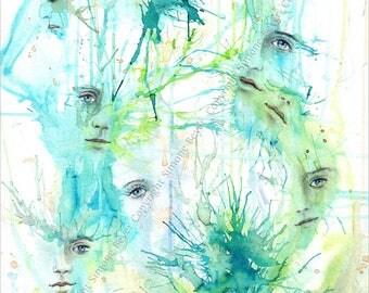 Faces - fantasy art - 21 x 29, 7 cm of fine art print - art print