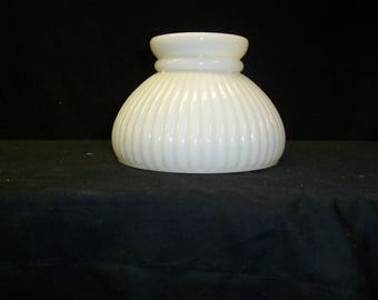 Vintage Milk glass ribbed glass shade , mini student shade ,  wall light replacement , student shade , replacement glass shade  ribbed glass