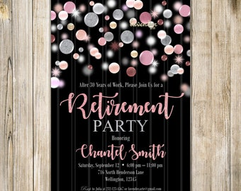 Pink and Silver RETIREMENT PARTY Invitation, Retirement Celebration Invite, Surprise Retirement, Woman Retirement, Farewell Party Invites