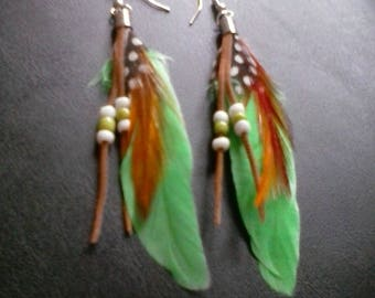 Green feathers, mixed beaded, earrings, Free shipping