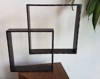 Vintage Mid Century Square Intersecting Curio Wall Shelf Wall shelving