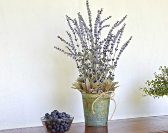 Lavender Flower Arrangement, Summer Decor, Artificial Flowers, Rustic Floral, Country Floral Decor,  Farmhouse Centerpiece
