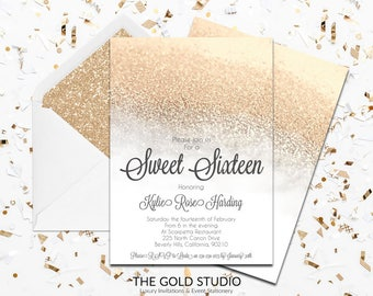 White & Gold Glamorous Sweet 16 Invitation | Gold Glitter Sweet Sixteen Invitation | Modern 16th Birthday Party Invite FREE SHIPPING