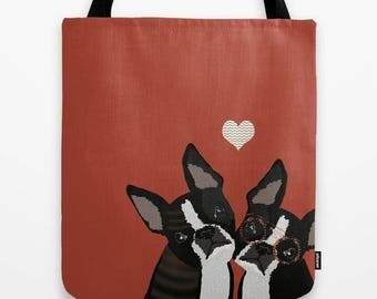 Dog Boston Terrier Tote bag Personalized - Small medium Large - Canvas Shopping Beach Birthday Gift School Tablet Urban Women Summer Cute