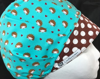 Hedgehog Surgical Cap Scrub Hats Medical Bouffant Surgical Caps Bonnet Tech Nurse Surgery Surgeon Aqua Blue Brown dots LoveNstitchies