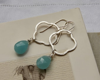 Light Blue Chalcedony and Sterling Silver Earrings