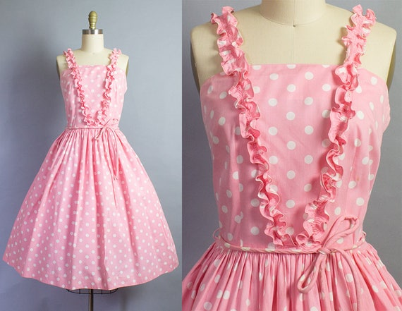 1950s Pink Polka Dot Cotton Sundress/ Medium (34b/28w)