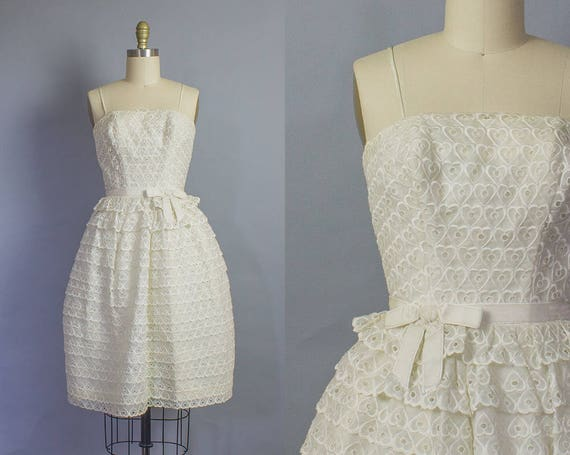 1950s Heart Embroidered Party Dress/ XS (28B/23W)