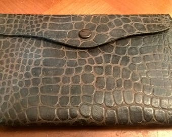 Brown Croc leather wallet