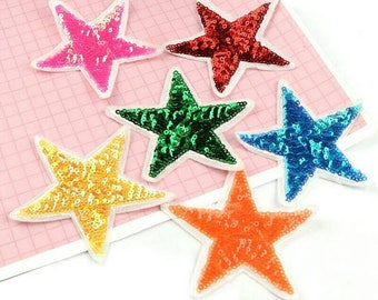 1 Piece Stars Sequins Patches Appliques Iron On Patch Sticker for Kids Girls T Shirts Coats Pants Bags DIY Crafts