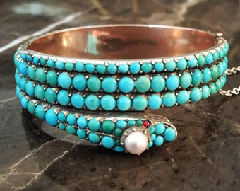 Rare Victorian Turquoise And Silver Snake Cuff With Locket Compartment