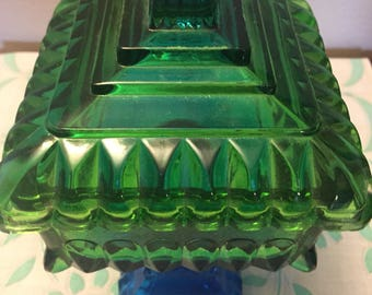 Vintage blue and green candy dish with lid