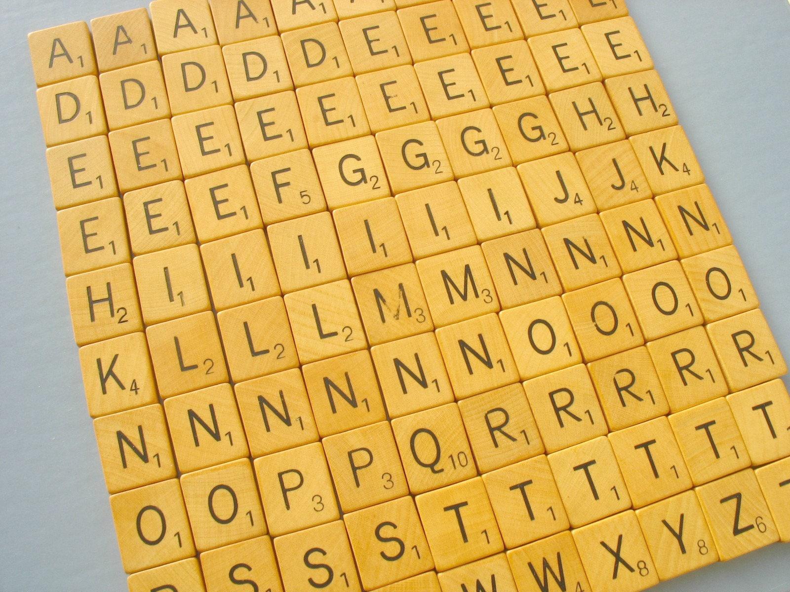 100 scrabble tiles vintage bulk letters complete set from for Bulk letters