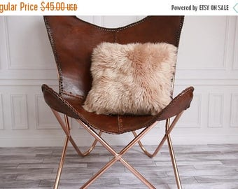 ON SALE Real Sheepskin Pillow Sheepskin Cushion Champagne Pink Pillow