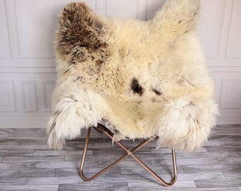 Double Sheepskin Rug | Square Sheepskin | Shaggy Rug | Chair Cover | Beige Rug | Carpet | Beige Sheepskin