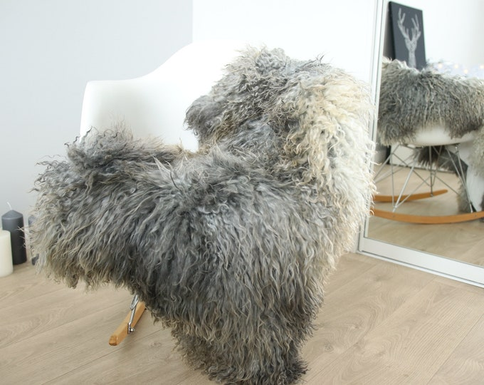 Genuine Rare Gotland Sheepskin Rug - Curly Fur Rug - Natural Sheepskin - Gray Sheepskin #FEBGOT30